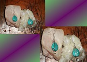 Silver Turquoise Jewelry - Green American Turquoise sterling silver earrings by Karen Martel