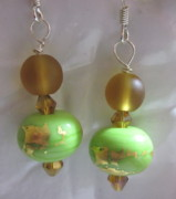 Gold Abstract Jewelry Originals - Green and Amber with Gold Foil Earrings by Janet  Telander