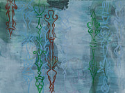 Muted Drawings Prints - Green and Blue Crystal Strands Print by Alexandra Sheldon