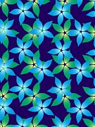 Green Color Art - Green And Blue Flowers On A Dark Blue Background by Lana Sundman
