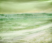 Green Sea Print Framed Prints - Green and Gold  Framed Print by Linde Townsend