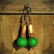 Wood Jewelry Jewelry - Green and orange by Katarzyna Horwat