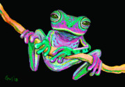 Green Frog Prints - Green and Pink Frog Print by Nick Gustafson