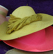 St.tropez Photos - Green and Pink Hats by Lainie Wrightson