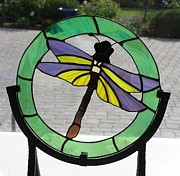 Dragonfly Glass Art - Green and Purple Dragonfly by Shelly Reid