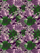 Green Color Art - Green And Purple Flower Pattern by Lana Sundman