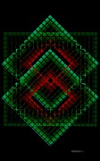 Green And Red Geometric Design Print by Mario  Perez