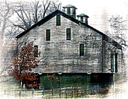 Rockbridge County Posters - Green and White Barn Poster by Kathy Jennings