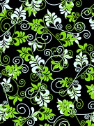 Green Color Art - Green And White Swirls On A Black Background by Lana Sundman
