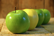 Crisp Prints - Green and yellow apples Print by Sandra Cunningham
