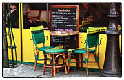 Outdoor Cafe Photo Prints - Green and Yellow in Paris Print by John Rizzuto