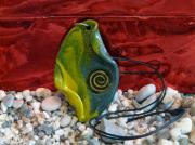 Acrylic Polymer Clay Prints - Green and Yellow Spiral Pendant Print by Chara Giakoumaki