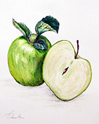 Green Foliage Drawings Prints - Green apple Print by Danuta Bennett