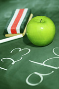 Classroom Prints - Green apple for school Print by Sandra Cunningham