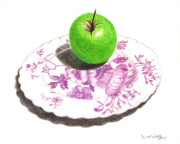 Apple Drawings Framed Prints - Green Apple Framed Print by Loraine LeBlanc