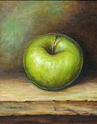 Apple Painting Posters - Green Apple Poster by Mirjana Gotovac