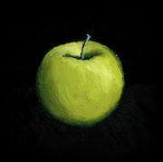 Background Paintings - Green Apple Still Life by Michelle Calkins