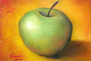 Apple Art Pastels Posters - Green Apple Studio Poster by Gabriela Valencia