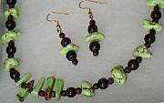 Food And Beverage Jewelry Originals - Green Apple Turquoise Necklace  Earrings  by Heidi McClure