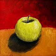 Black Diet Paintings - Green Apple with Red and Gold by Michelle Calkins