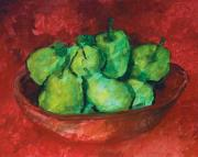Interior Still Life Painting Metal Prints - Green Apples and Pears Metal Print by Robert Cooper