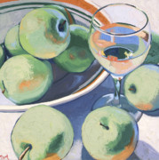 Green Oil Paintings - Green Apples and Pinot Grigio by Christopher Mize