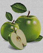 Granny Prints - Green Apples Print by Cheryl Young