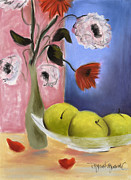 Red Poppies Pastels - Green Apples by Tatjana Krizmanic