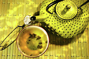 Brewed Prints - Green asian teapot with cup  Print by Sandra Cunningham