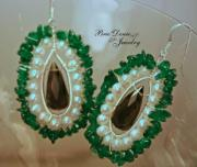 White Pearl Jewelry - Green Aventurine Pearl and Glass Baroque Earrings by Brittney Brownell