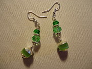 Green Jewelry Prints - Green Ball Drop Earrings Print by Jenna Green