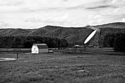 Kathleen K Parker - Green Bank Telescope and the White Barn in BW