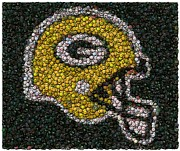 Montage Mixed Media Framed Prints - Green Bay Packers Bottle Cap Mosaic Framed Print by Paul Van Scott