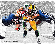 Ryan Adams Prints - Green Bay Packers Ryan Grant and Chicago Bears Lance Briggs and Gaines Adams Print by Jack Kurzenknabe