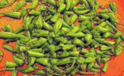 Green Beans Prints - Green Bean Tiips Print by Ron Bissett