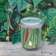 Green Beans Paintings - Green Beans by Holly Bartlett Brannan