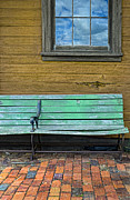 Waiting Prints - Green Bench at Train Station Print by Jill Battaglia