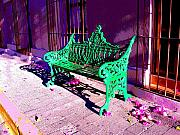 Michael Metal Prints - Green Bench by Michael Fitzpatrick Metal Print by Olden Mexico