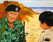 John Wayne Paintings - Green Beret by Dean Manemann