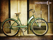 Small Town Posters - Green Bicycle Poster by Carol Leigh