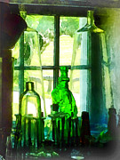 Windowsills Posters - Green Bottles on Windowsill Poster by Susan Savad