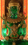 Thai Framed Prints - Green Buddha Framed Print by Bob Christopher