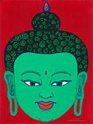 Illustrative Framed Prints - Green Buddha Framed Print by Michelle  Darensbourg