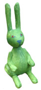 Rabbit Sculpture Posters - Green Bunny Poster by Maria Rosa