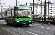 Green Bus On The Galata Print by John Rizzuto