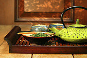 Variation Art - Green cast iron teapot by Sandra Cunningham