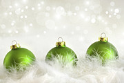 Backdrop Background Prints - Green christmas balls Print by Sandra Cunningham