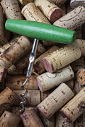 Wine Corks Prints - Green corkscrew Print by Garry Gay