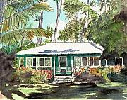 Plantation Paintings - Green Cottage by Marionette Taboniar