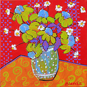 Expressionist Prints - Green Daisy Bouquet Print by Blenda Tyvoll